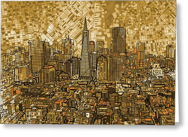 Pyramids Greeting Cards - San Francisco Cityscape Greeting Card by MB Art factory