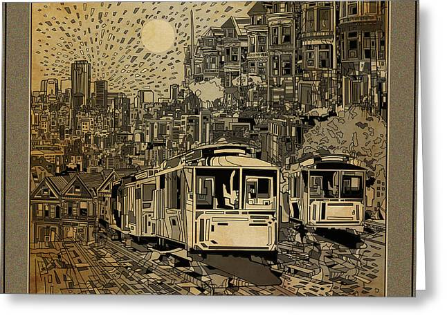 Pyramids Greeting Cards - San Francisco Cityscape Vintage Greeting Card by MB Art factory