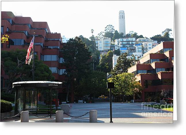 Levis Greeting Cards - San Francisco Coit Tower At Levis Plaza 5D26186 Greeting Card by Wingsdomain Art and Photography