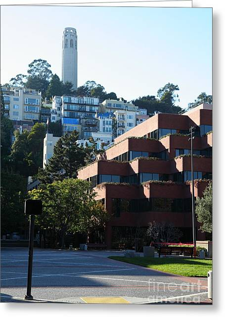 Levis Greeting Cards - San Francisco Coit Tower At Levis Plaza 5D26188 Greeting Card by Wingsdomain Art and Photography