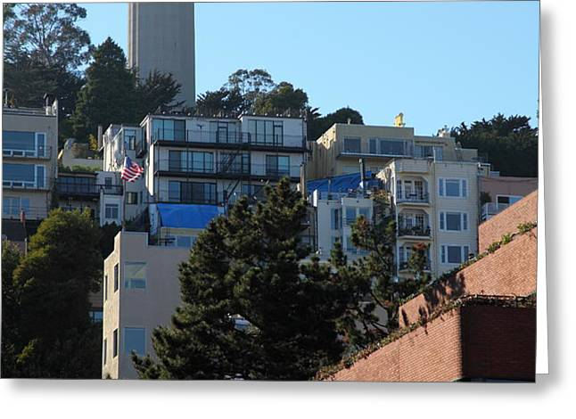 San Francisco Coit Tower At Levis Plaza 5D26192 Greeting Card by Wingsdomain Art and Photography