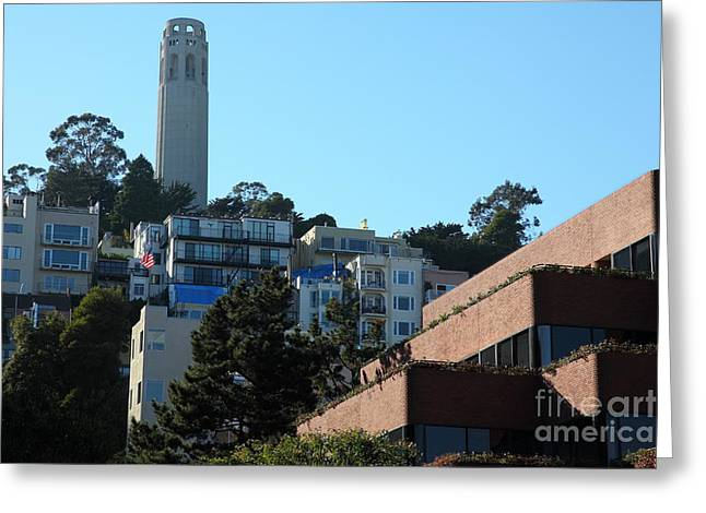 Levis Greeting Cards - San Francisco Coit Tower At Levis Plaza 5D26193 Greeting Card by Wingsdomain Art and Photography