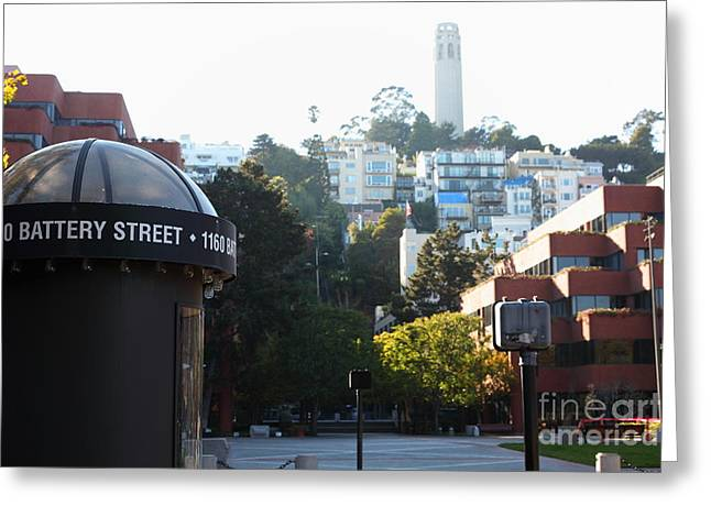 Levis Greeting Cards - San Francisco Coit Tower At Levis Plaza 5D26212 Greeting Card by Wingsdomain Art and Photography