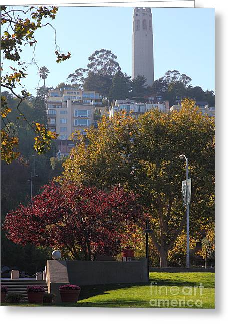 San Francisco Coit Tower At Levis Plaza 5d26216 Greeting Card by Wingsdomain Art and Photography