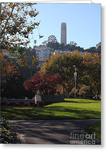 Levi Greeting Cards - San Francisco Coit Tower At Levis Plaza 5D26217 Greeting Card by Wingsdomain Art and Photography