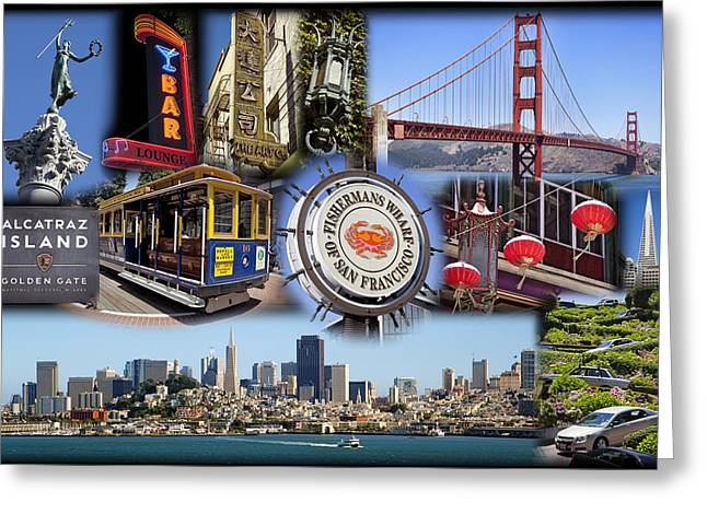 Alcatraz Greeting Cards - San Francisco Collage Greeting Card by Kelley King