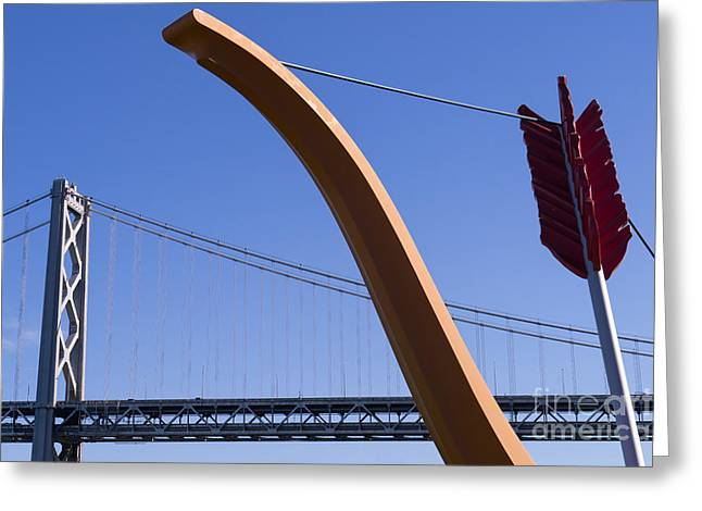Rincon Greeting Cards - San Francisco Cupids Span Sculpture At Rincon Park On The Embarcadero DSC1808 Greeting Card by Wingsdomain Art and Photography
