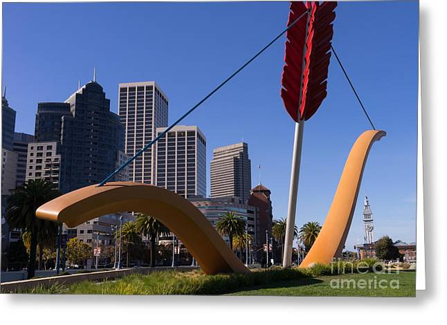 Rincon Greeting Cards - San Francisco Cupids Span Sculpture At Rincon Park On The Embarcadero DSC1926 Greeting Card by Wingsdomain Art and Photography