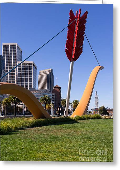 Rincon Greeting Cards - San Francisco Cupids Span Sculpture At Rincon Park On The Embarcadero DSC1927 Greeting Card by Wingsdomain Art and Photography