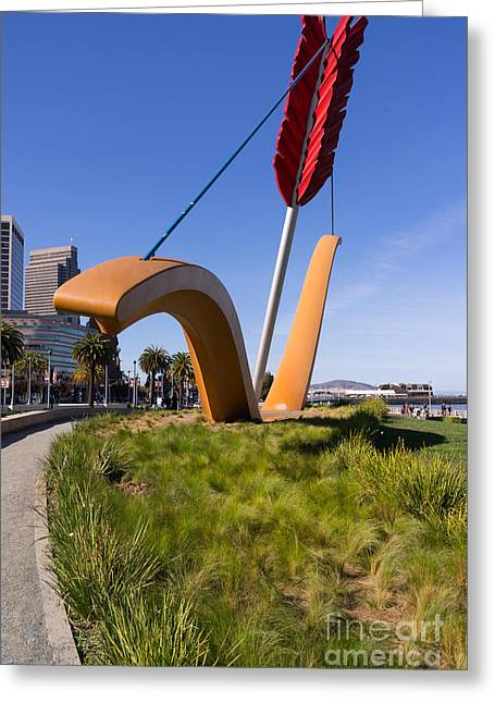 Rincon Greeting Cards - San Francisco Cupids Span Sculpture At Rincon Park On The Embarcadero DSC1928 Greeting Card by Wingsdomain Art and Photography