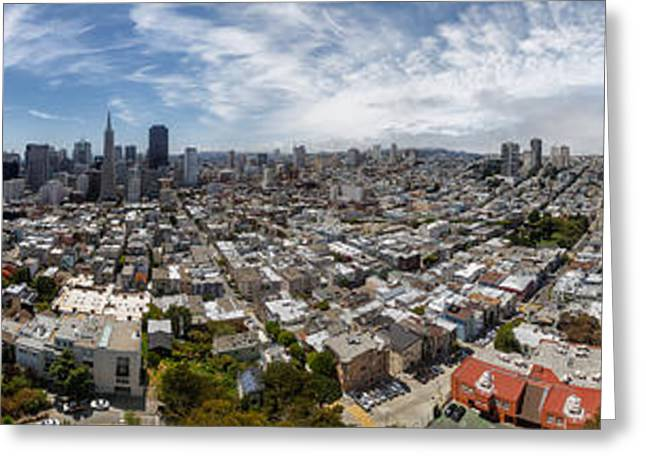 Treasures Greeting Cards - San Francisco Daytime Panoramic Greeting Card by Adam Romanowicz