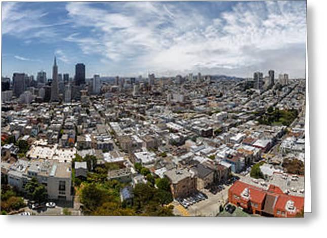 San Francisco Daytime Panoramic Greeting Card by Adam Romanowicz