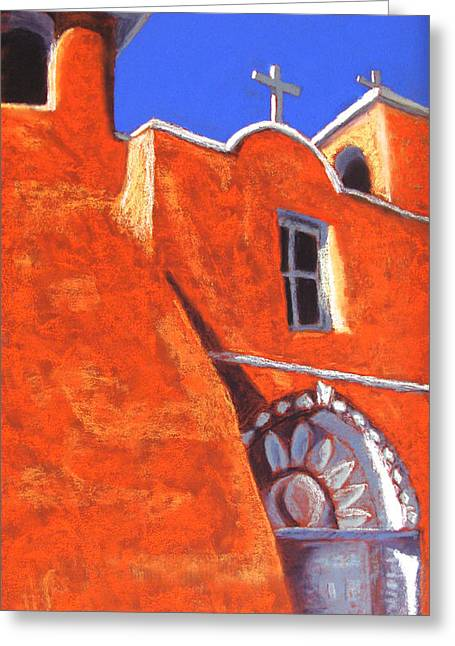 Taos Pastels Greeting Cards - San Francisco de Asis Mission Church Greeting Card by Holly Wright