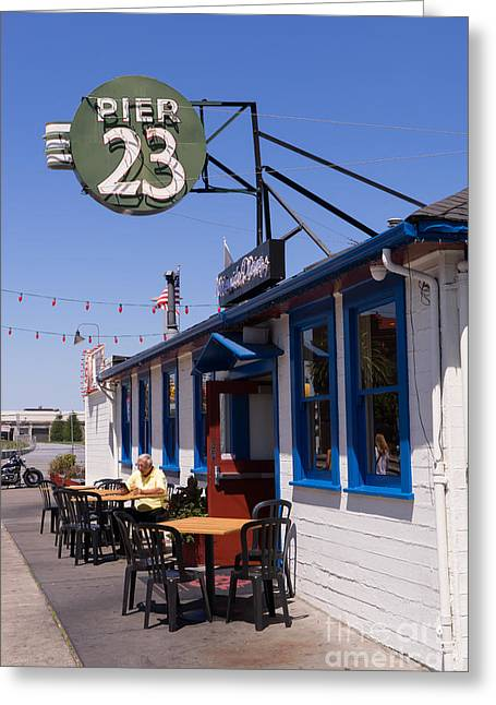 American Food Greeting Cards - San Francisco Embarcadero Pier 23 Cafe DSC1620 Greeting Card by Wingsdomain Art and Photography
