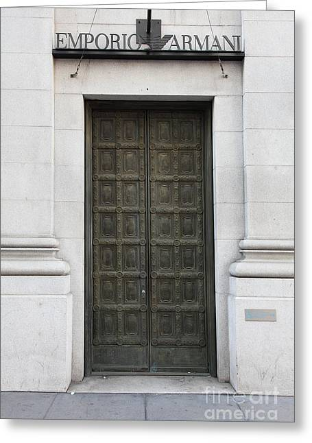Italian Shopping Photographs Greeting Cards - San Francisco Emporio Armani Store Doors - 5D20538 Greeting Card by Wingsdomain Art and Photography