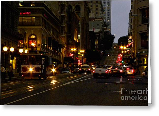 Streetlight Greeting Cards - San Francisco Evening Greeting Card by Ron Sanford