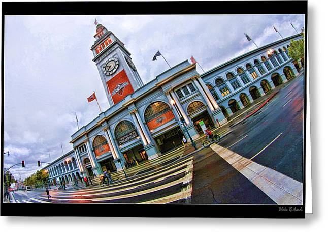 Blake Richards Greeting Cards - San Francisco Ferry Building Giants Decorations. Greeting Card by Blake Richards