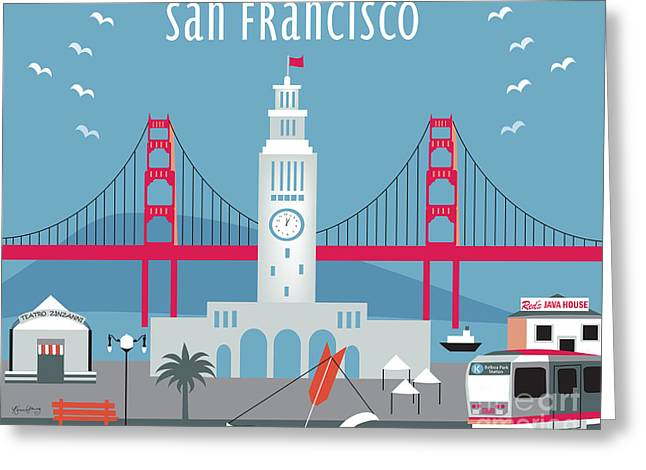 San Francisco Ferry Building Greeting Card by Karen Young