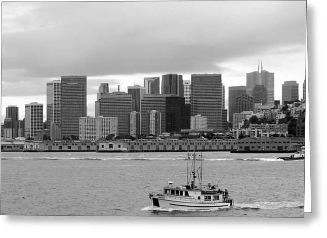 Downtown San Francisco Greeting Cards - San Francisco Fishing Boat Downtown Greeting Card by Jeff Lowe