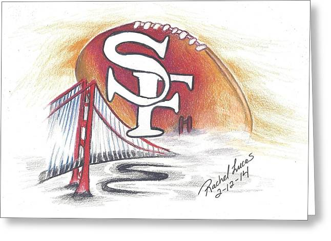 49ers Drawings Greeting Cards - San Francisco Football in Fog Greeting Card by Rachel Lucas