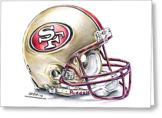 Sayers Greeting Cards - San Francisco 49ers Helmet Greeting Card by James Sayer