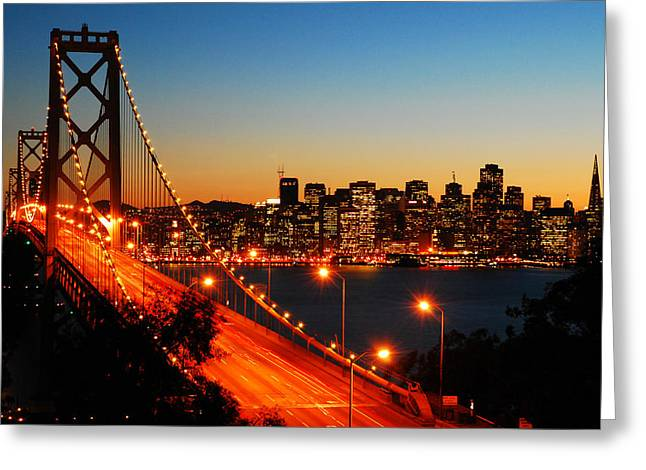 San Francisco Bay Pyrography Greeting Cards - The City by the Bay Greeting Card by James Kirkikis