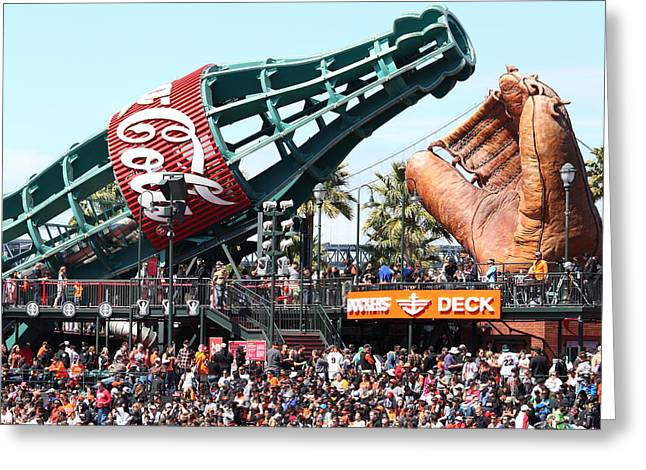 San Francisco Giants Baseball Ballpark Fan Lot Giant Glove And Bottle 5d28241 Square Greeting Card by Wingsdomain Art and Photography