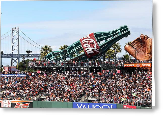 Att Ballpark Photographs Greeting Cards - San Francisco Giants Baseball Ballpark Fan Lot Giant Glove and Bottle 5D28246 Greeting Card by Wingsdomain Art and Photography