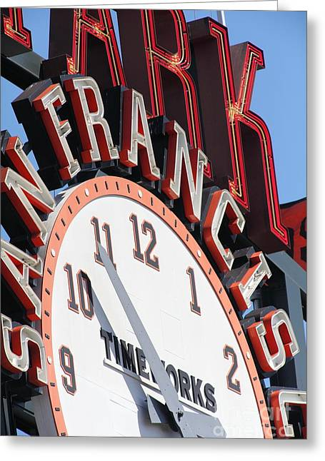 San Francisco Giants Baseball Scoreboard And Clock 5d28235 Greeting Card by Wingsdomain Art and Photography