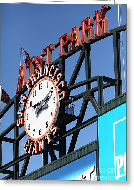 San Francisco Giants Baseball Scoreboard And Clock 5d28244 Greeting Card by Wingsdomain Art and Photography