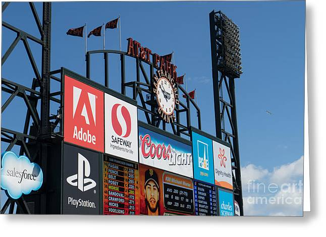 San Francisco Giants Baseball Scoreboard And Clock Dsc1163 Greeting Card by Wingsdomain Art and Photography