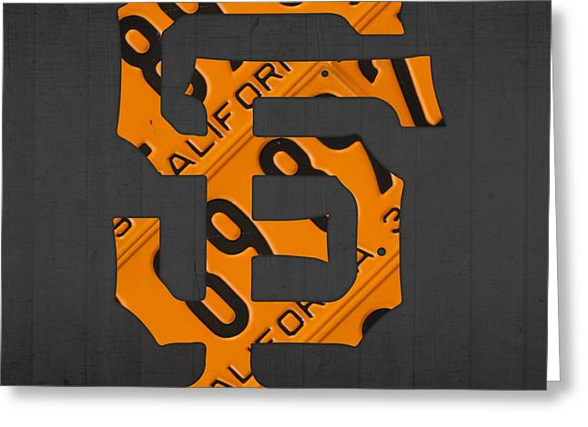 San Francisco Giants Baseball Vintage Logo License Plate Art Greeting Card by Design Turnpike
