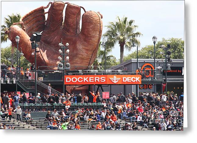 Att Ballpark Photographs Greeting Cards - San Francisco Giants Fan Lot Giant Glove 5D28142 Greeting Card by Wingsdomain Art and Photography