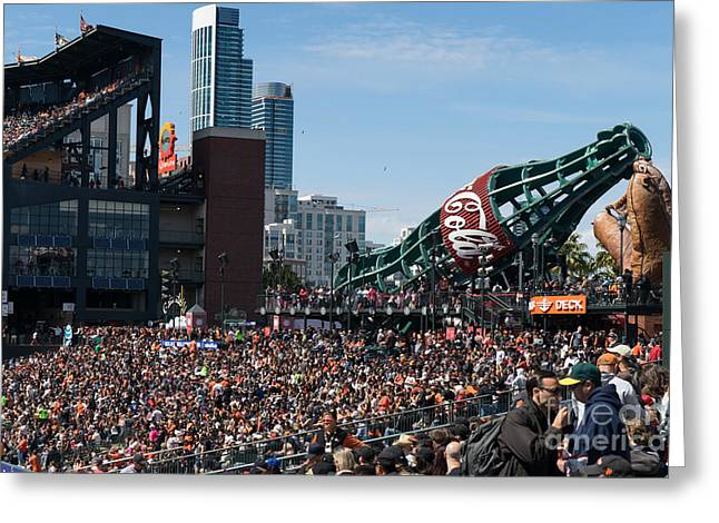 Att Ballpark Photographs Greeting Cards - San Francisco Giants Fan Lot Giant Glove and Bottle DSC1176 Greeting Card by Wingsdomain Art and Photography