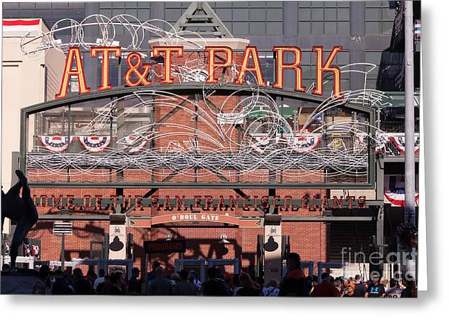 San Francisco Giants Ballpark Greeting Cards - San Francisco Giants World Series Baseball At ATT Park 5D29720 Greeting Card by Wingsdomain Art and Photography