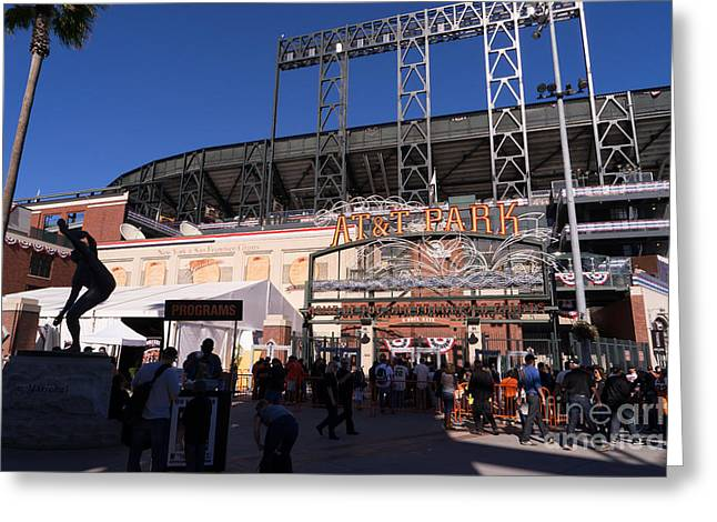 American Pastime Photographs Greeting Cards - San Francisco Giants World Series Baseball At ATT Park DSC1896 Greeting Card by Wingsdomain Art and Photography