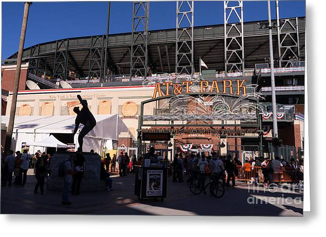 American Pastime Photographs Greeting Cards - San Francisco Giants World Series Baseball At ATT Park DSC1899 Greeting Card by Wingsdomain Art and Photography