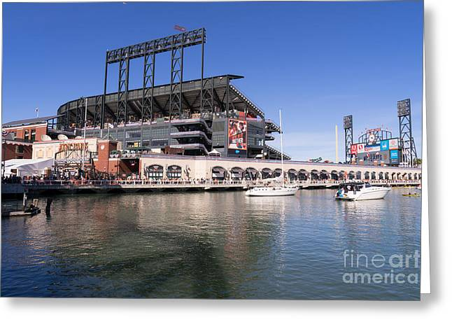 American Pastime Photographs Greeting Cards - San Francisco Giants World Series Baseball At ATT Park DSC1906 Greeting Card by Wingsdomain Art and Photography