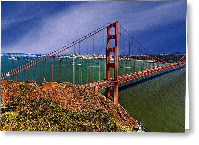 Nadine Greeting Cards - San Francisco Golden Gate Bridge Greeting Card by  Bob and Nadine Johnston
