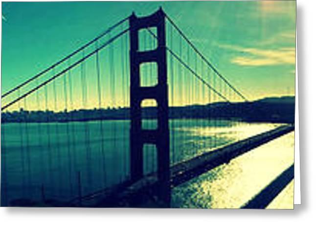Coastal Decor Digital Greeting Cards - San Francisco Golden Gate Bridge Panoramic view Greeting Card by Patricia Awapara