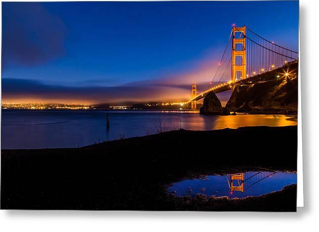 Dave Gordon Greeting Cards - San Francisco Golden Gate Bridge Reflection Greeting Card by Dave Gordon