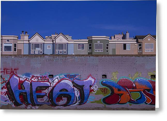 Sea Wall Greeting Cards - San Francisco Graffiti Greeting Card by Garry Gay