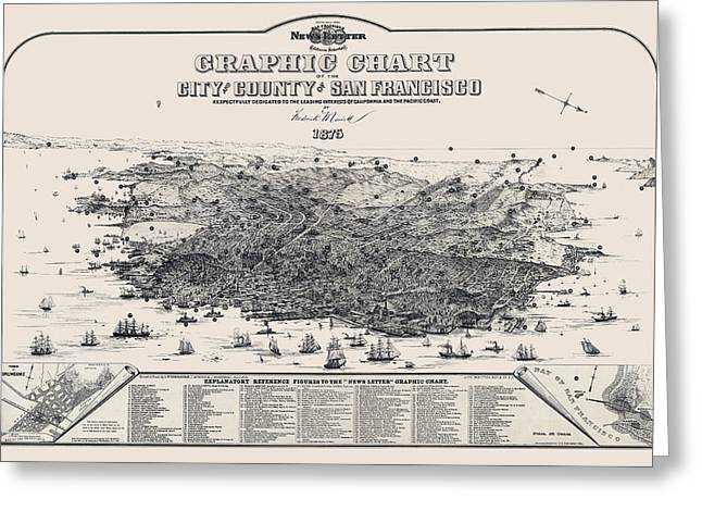 Downtown San Francisco Greeting Cards - San Francisco Graphic Map 1875 Greeting Card by Daniel Hagerman