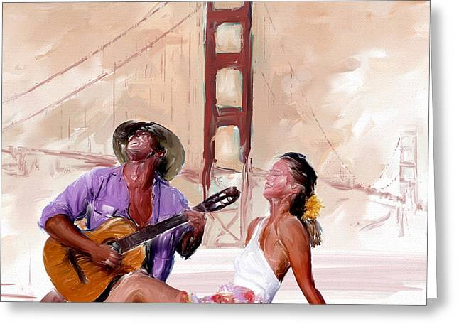 Women Greeting Cards - San Francisco Guitar Man Greeting Card by Robert Smith
