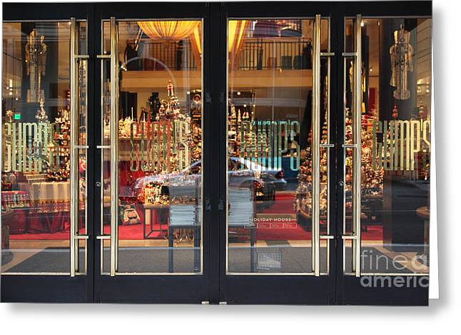 Downtown San Francisco Greeting Cards - San Francisco Gumps Store Doors - 5D20585 Greeting Card by Wingsdomain Art and Photography