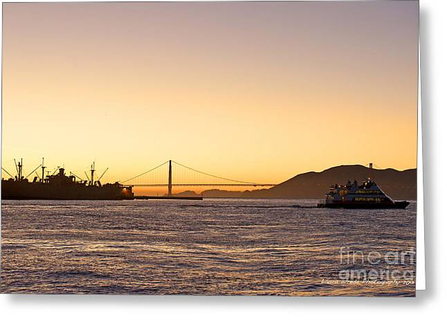 San Francisco Harbor Golden Gate Bridge at Sunset Greeting Card by Artist and Photographer Laura Wrede