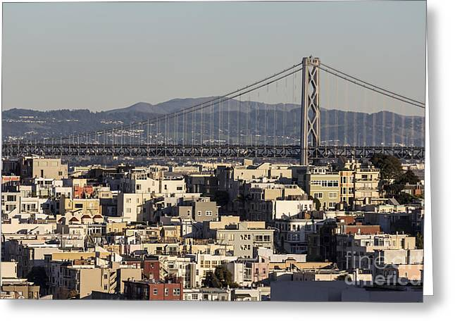 Oakland Neighborhood Greeting Cards - San Francisco hillside homes and Bay Bridge. Greeting Card by Trekkerimages Photography