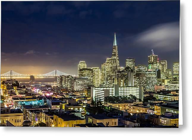 Dave Gordon Greeting Cards - San Francisco Holiday Lights Greeting Card by Dave Gordon