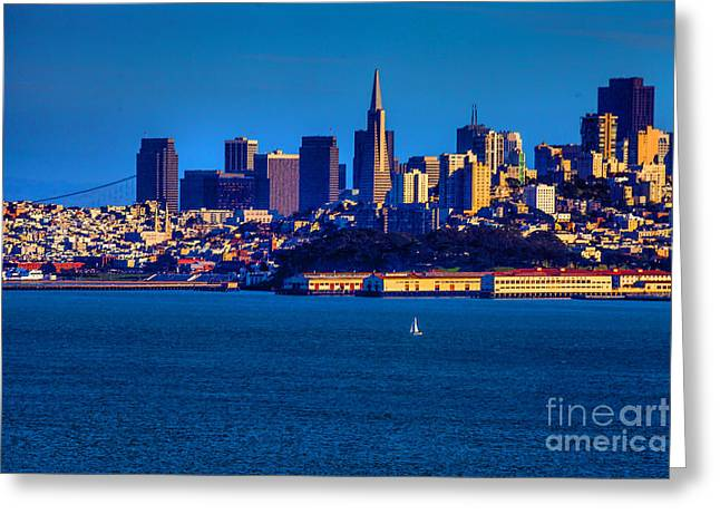 Downtown San Francisco Greeting Cards - San Francisco in Blue Greeting Card by Steven Reed