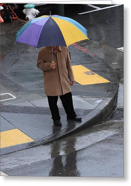 Moran Greeting Cards - San Francisco In The Rain Greeting Card by Aidan Moran